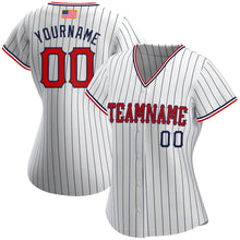 Load image into Gallery viewer, Custom White Navy Strip Red-Navy Authentic American Flag Fashion Baseball Jersey