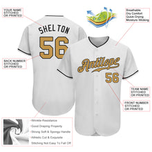 Load image into Gallery viewer, Custom White Old Gold-Black Authentic Baseball Jersey