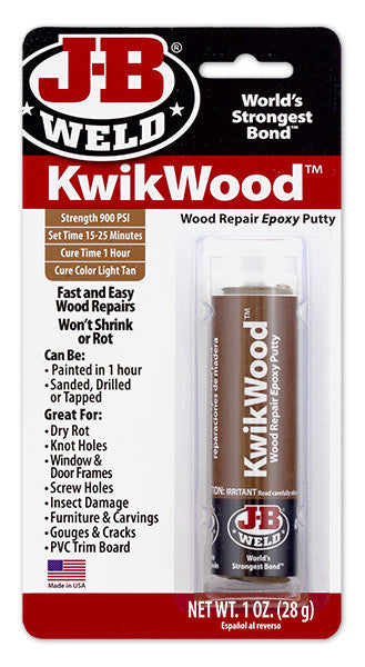 Kwikwood Epoxy Putty 1oz J B Weld