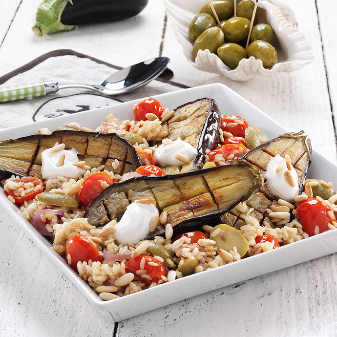 Roasted aubergines with brown rice and cherry tomatoes for #worldvegetarianday
