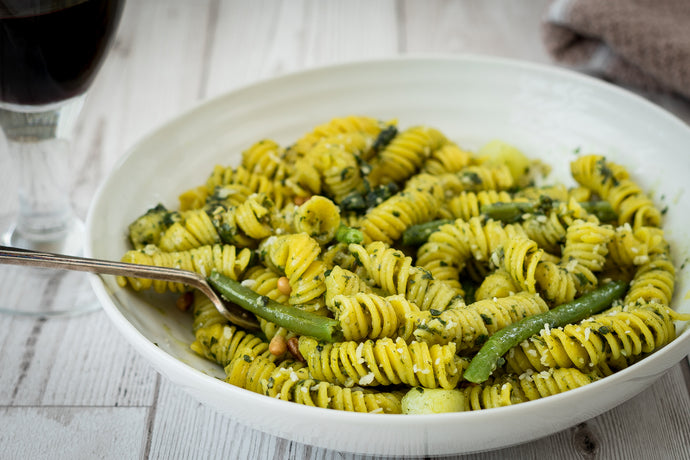 Pasta-Al-Pesto With Green Beans & Potatoes
