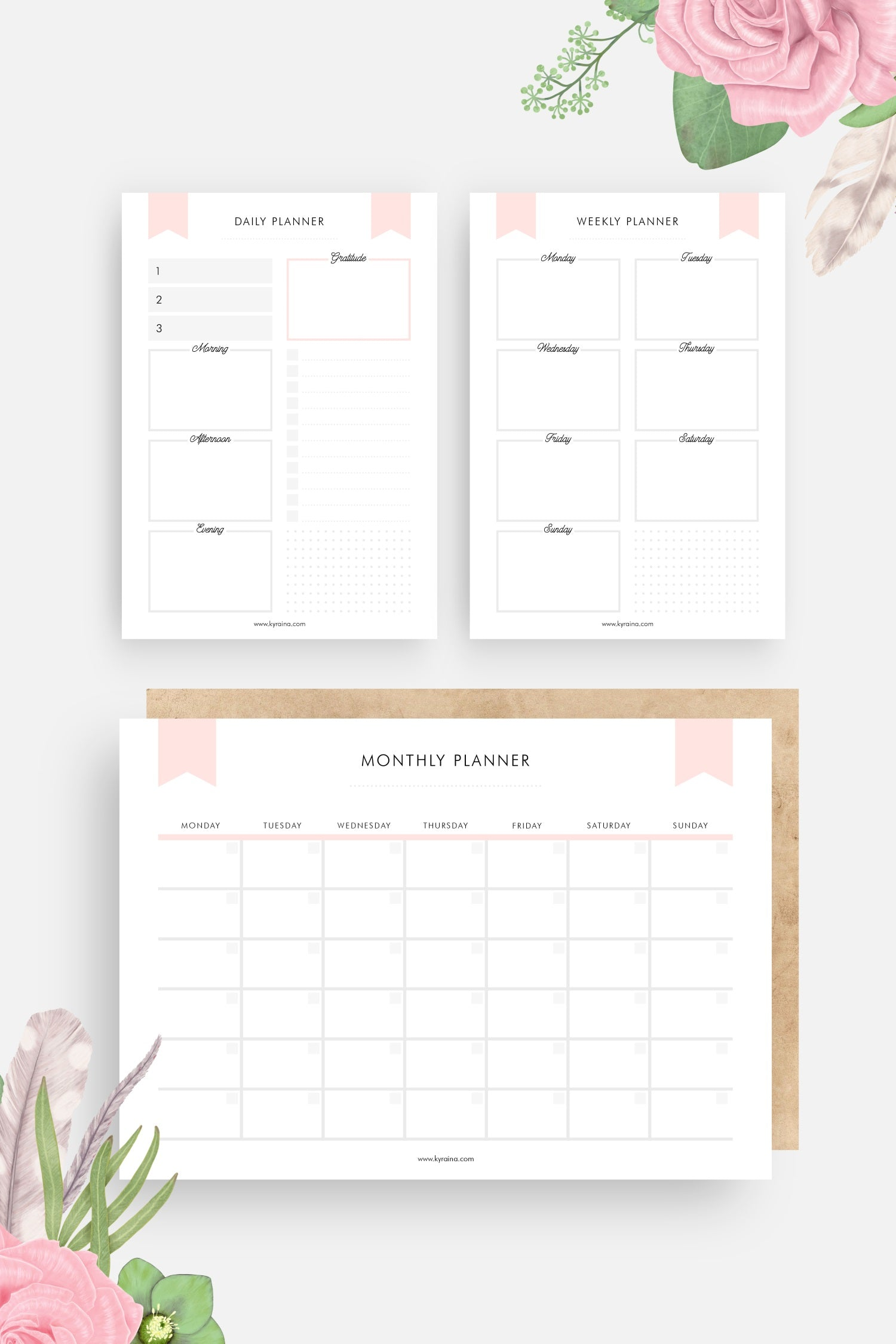 free planner printable template, digital download, daily planner, weekly planner, and monthly calendar planner printables PDF file format A4 size to download and print