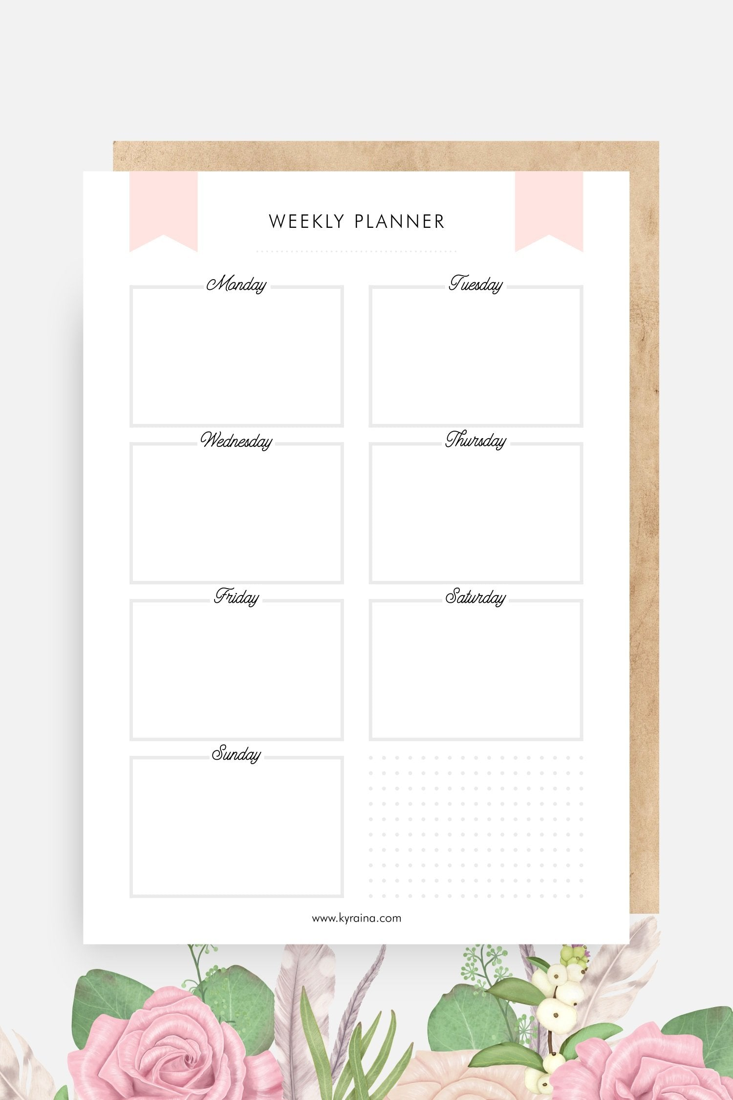 Free Pinky Weekly Planner printable template schedule for school and planner organization