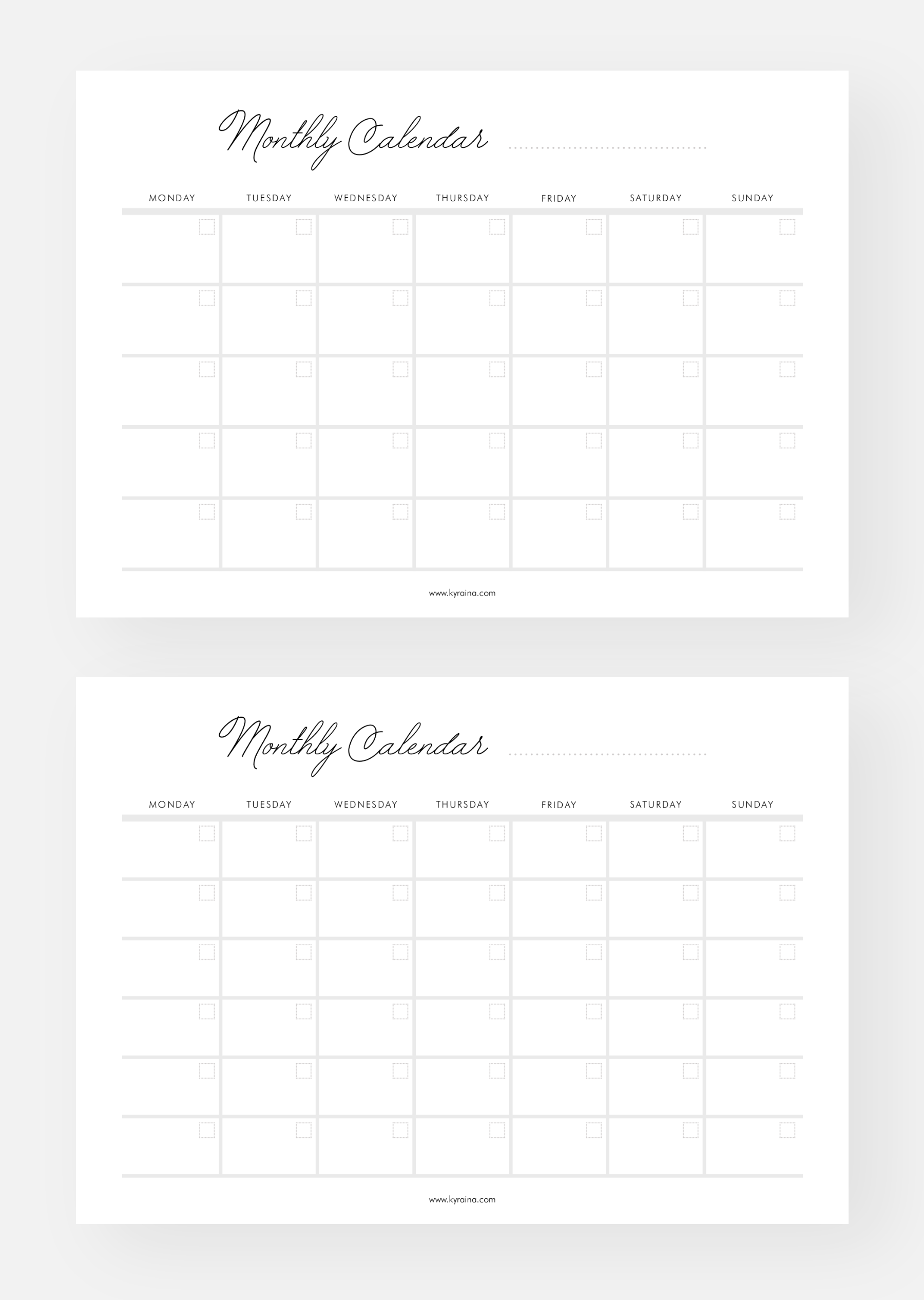 Free Monthly Calendar Planner Printable Templates - From Simply Elegant Planner Pack - 6 Pages