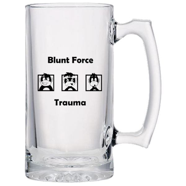 Blunt Force Trauma Beer Mugs - Generous Size - Dishwasher Safe