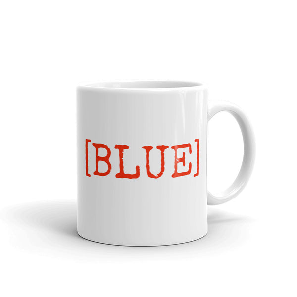 [BLUE] Red Text Fun Confusing Design Ceramic Coffee Mug