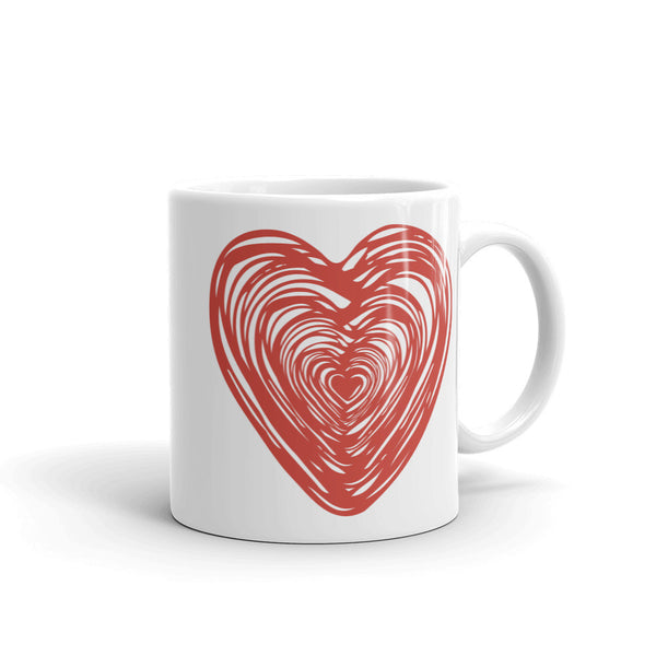 Big Red Heart Love Theme Ceramic Coffee Mug