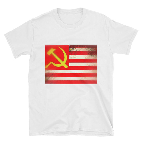 Men's USA - USSR - American Russian Flag Political Humor Funny Graphic T Shirt