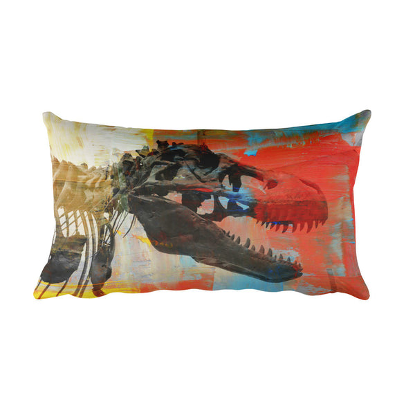 "T-Rex Colorful Art Decorative 20""x12"" Pillow"