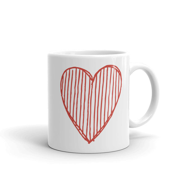 Big Red Heart Doodle Love Edition Ceramic Coffee Mug