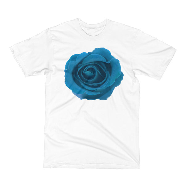 IN FULL BLOOM Big Blue Rose Floral Flower Design T-Shirt