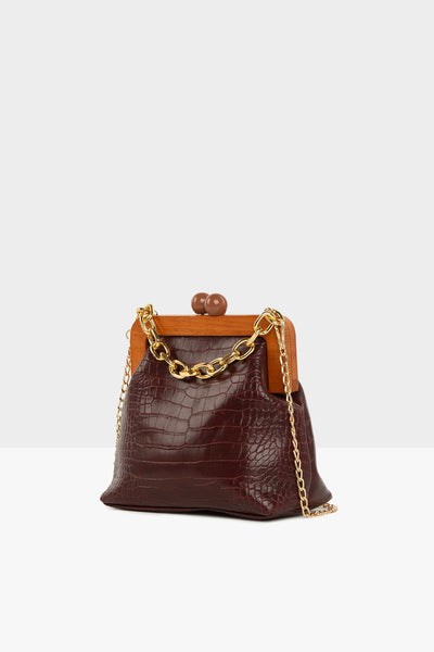 Sac a main bordeaux croco