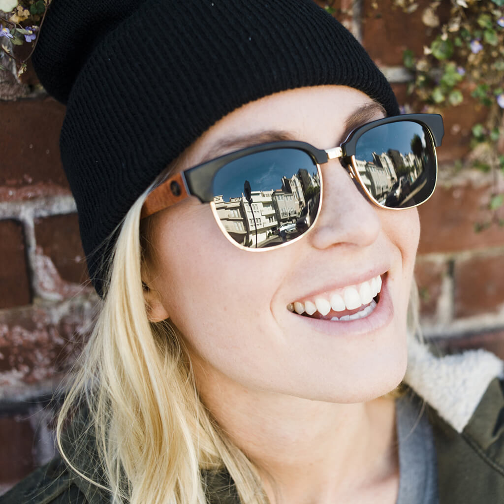 Sawtooth Cotton-Based Eco Acetate Sunglasses with Polarized Lenses