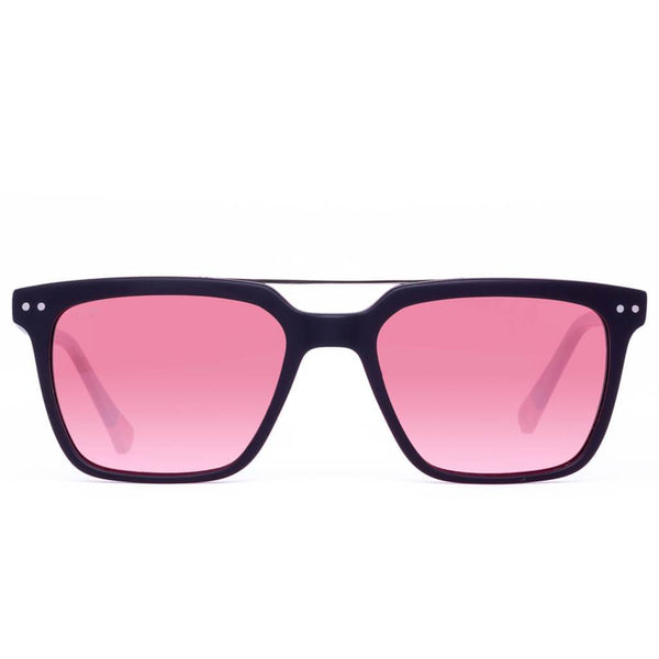 The Haze 45th Parallel Black Cotton-Based Acetate Eco Sunglasses with Rose Polarized Lenses