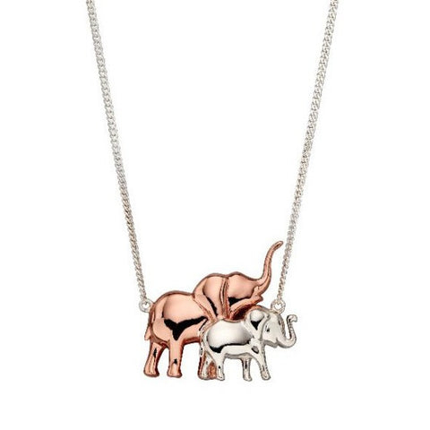 Silver and Rose Gold Plated Elephant Necklace