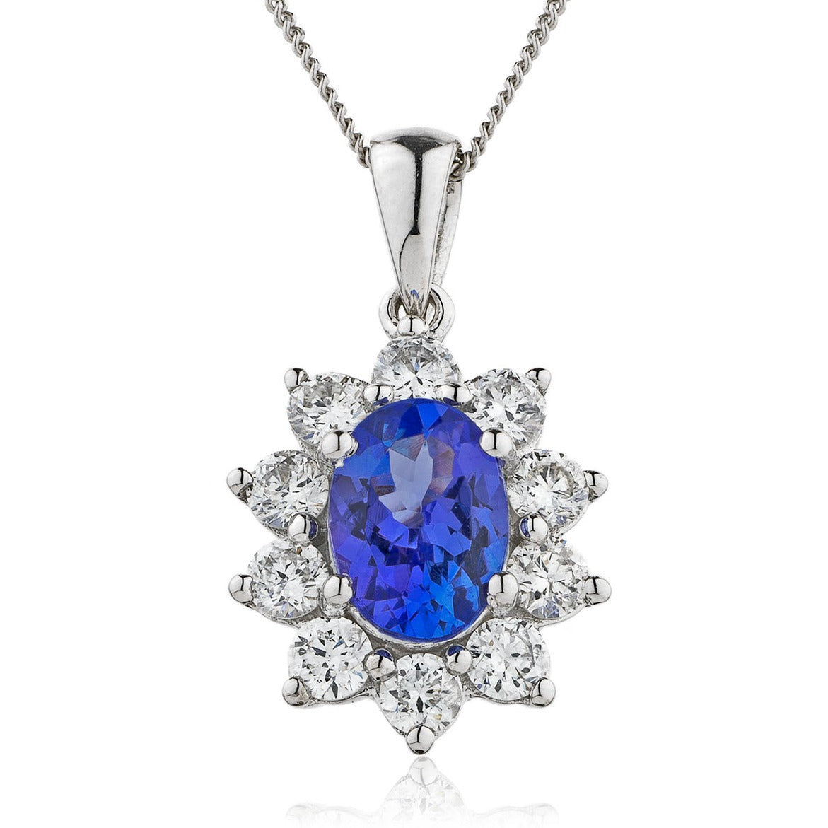 18ct White Gold Blue Sapphire and Diamond Pendant & Chain