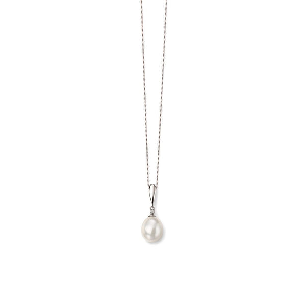 9ct White Gold Freshwater Pearl & Diamond Pendant and Chain