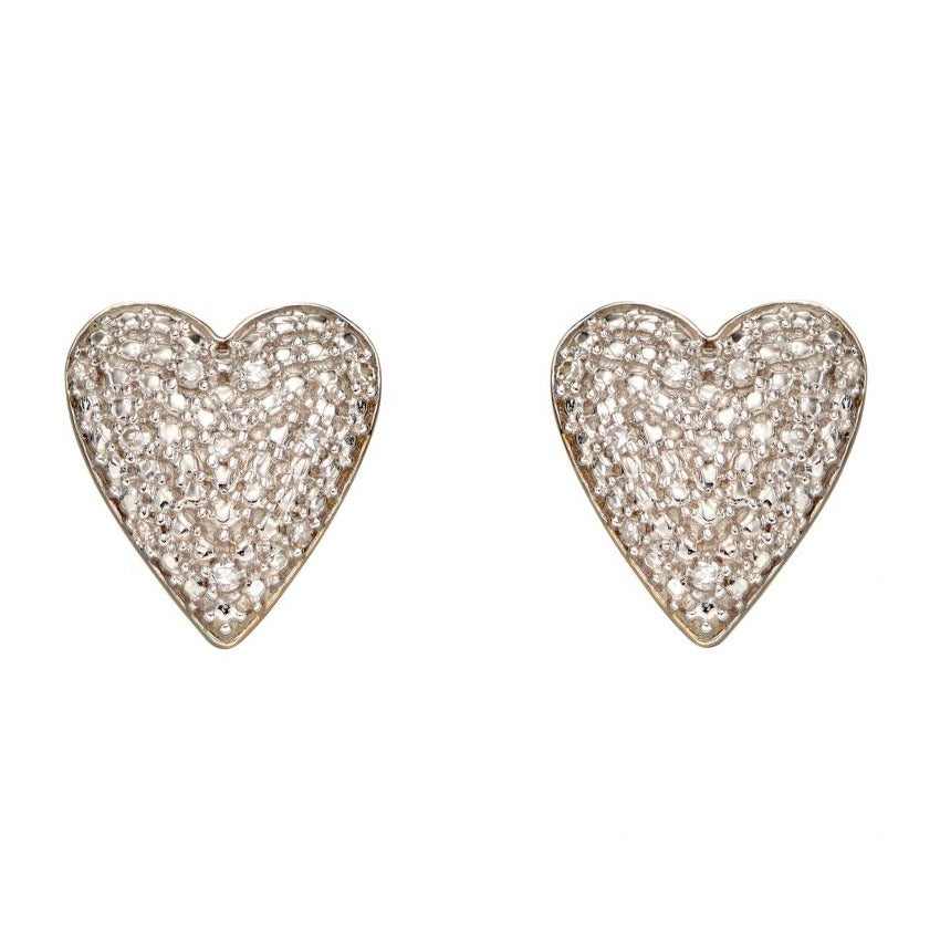 9ct Yellow Gold Diamond Pave Heart Earrings