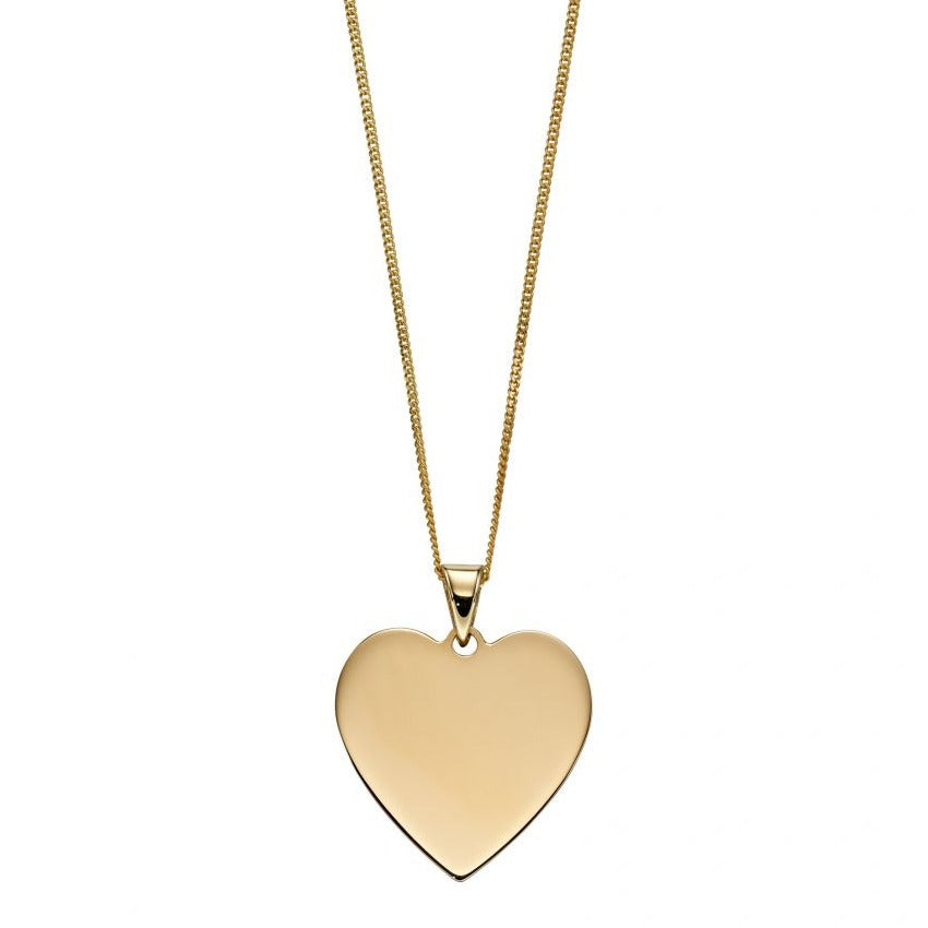 9ct Yellow Gold Engravable Heart Disc & Chain