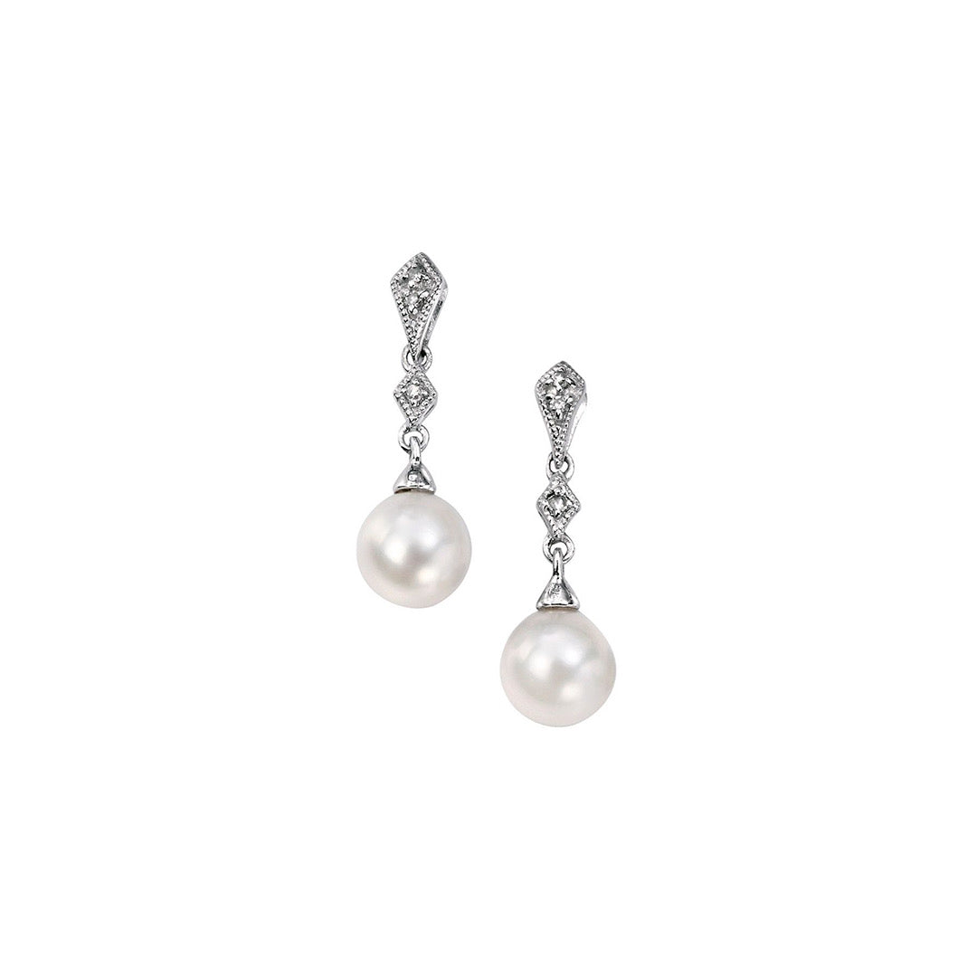 9ct White Gold Diamond and Freshwater Pearl Earrings