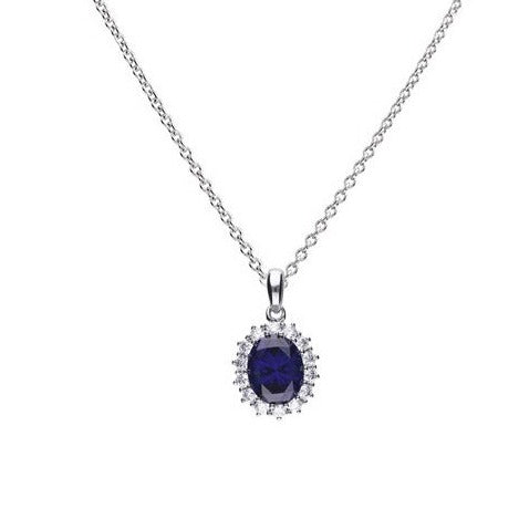 Blue Cubic Zirconia Cluster Pendant and Silver Chain