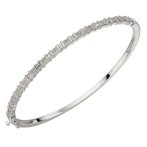 9ct White Gold Baguette Diamond Bar Bangle