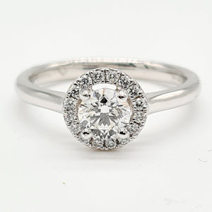 Platinum Brilliant Cut Diamond Halo Ring (0.50ct + 0.13ct)