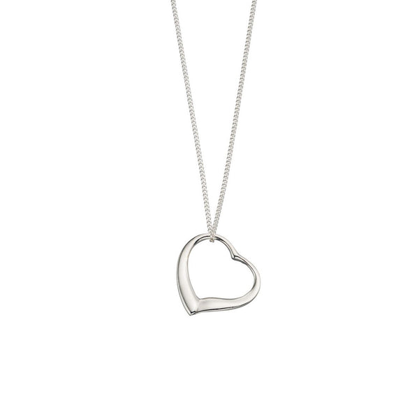 Silver Open Heart Pendant & Chain