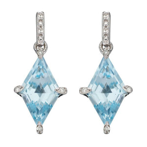 Kite Shaped Earrings with Blue Topaz and Diamonds in 9ct White Gold