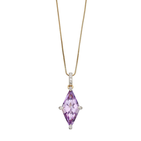 Kite shaped Pendant with Amethyst and Diamonds in 9ct Yellow Gold