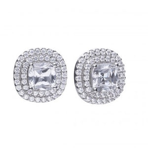 Cushion Cut Double Halo Zirconia Earrings