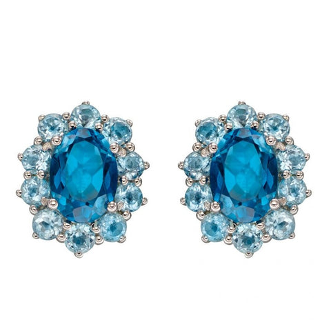 London Blue Topaz and Sky Blue Topaz Earrings in 9ct White Gold