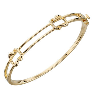 Double Parallel Knot Yellow Gold Hinged Bangle