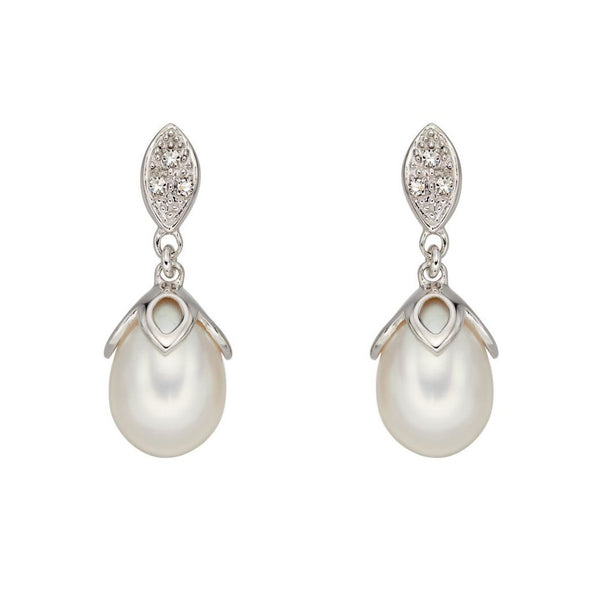 9ct White Gold Earrings With Freshwater Pearl And Diamonds
