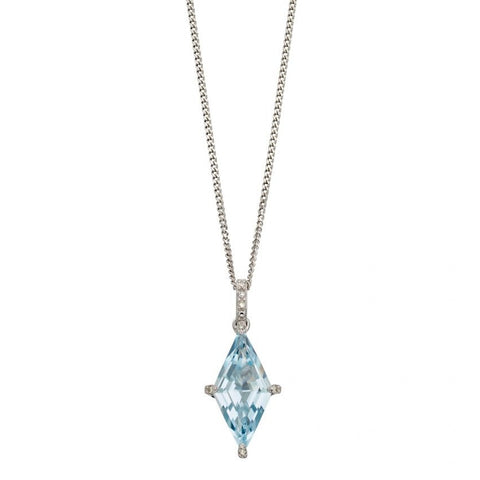 Kite shaped Pendant with Blue Topaz and Diamonds in White Gold