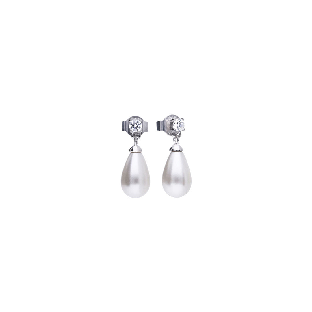 Sterling Silver Triple Plated Pearl & Cubic Zirconia Earrings