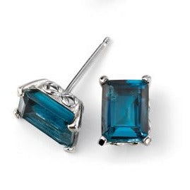 London Blue Topaz White Gold Earrings