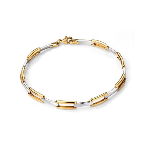 9ct Yellow and White Gold Oval Rectangle Link Bracelet