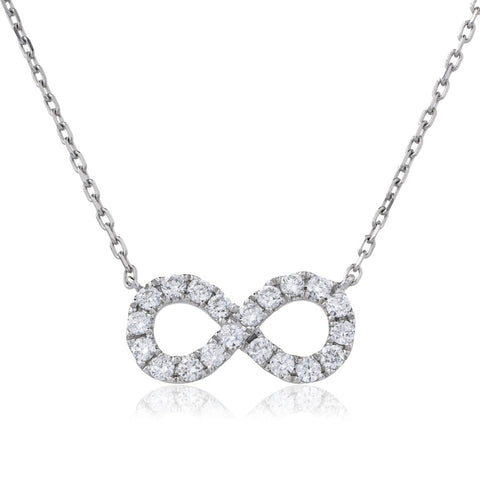 18ct White Gold Diamond Infinity Pendant