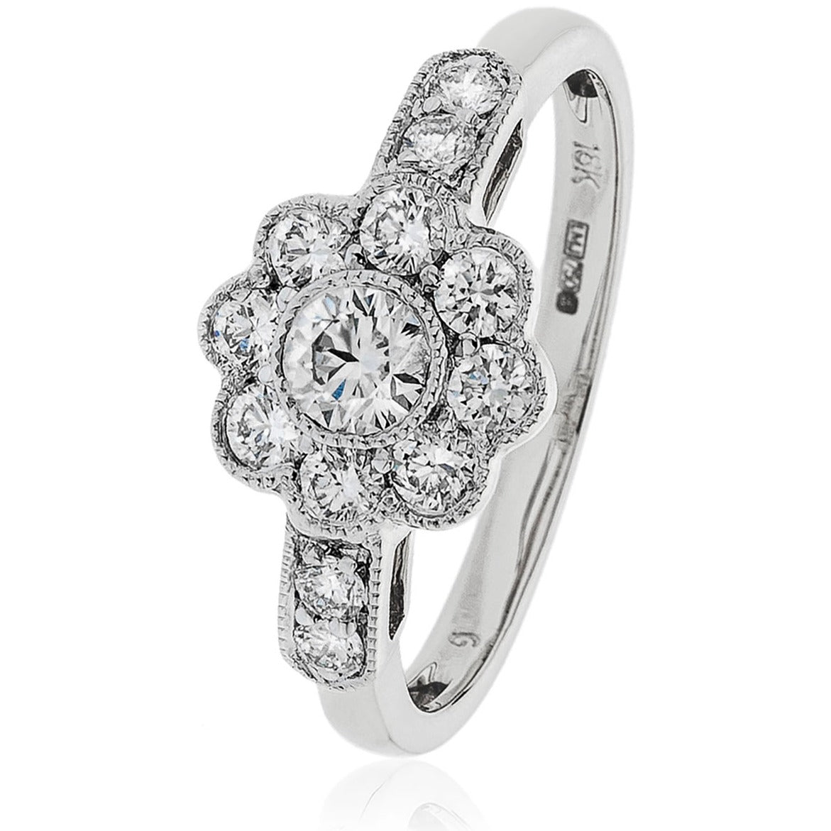 18ct White Gold and Diamond Flower Ring