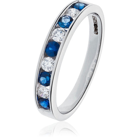 18ct White Gold Blue Sapphire & Diamond Eternity Ring
