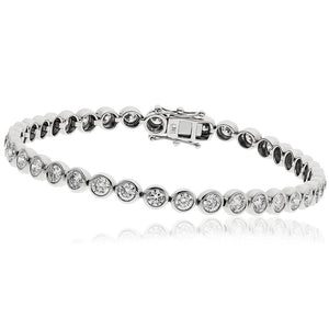 9ct White Gold Rubover Set Diamond Tennis Bracelet