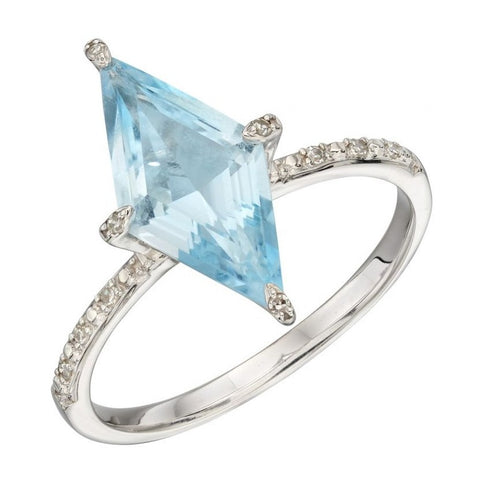 Kite Shaped Ring with Blue Topaz and Diamonds in 9ct White Gold