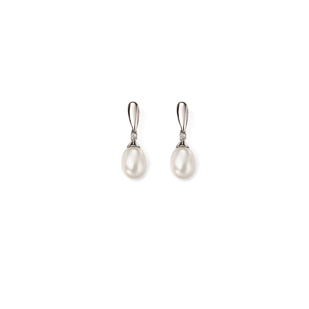 9ct White Gold Freshwater Pearl and Diamond Drop Earring