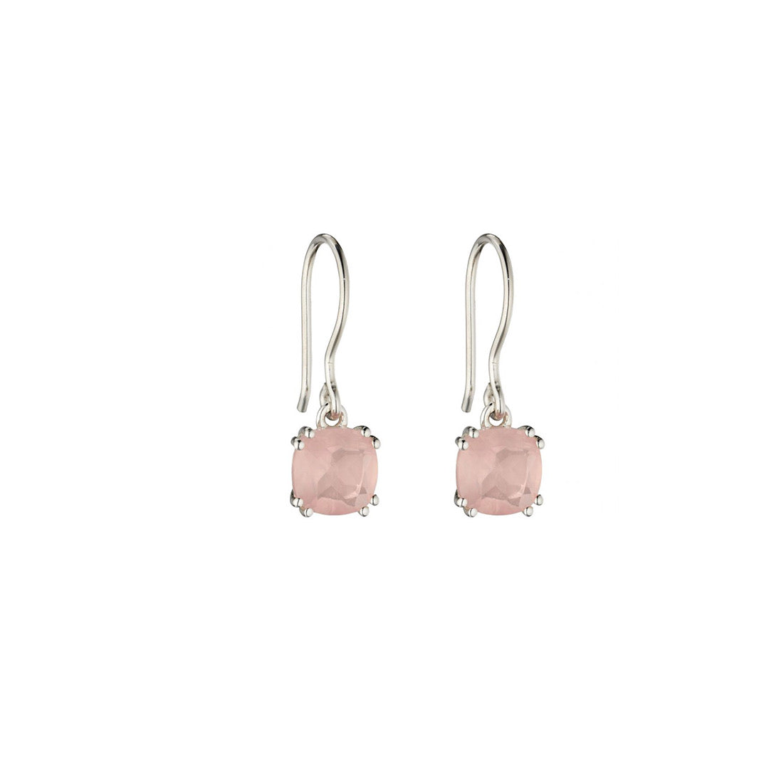 Silver Rose Quartz Drop Earrings