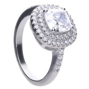 Cushion Cut Double Halo Zirconia Ring