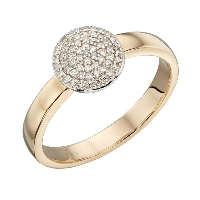 9ct Yellow Gold Circular Diamond Cluster Ring