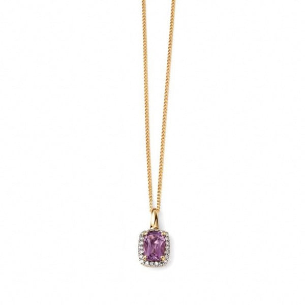 9ct Yellow Gold Diamond and Amethyst Pendant and Chain