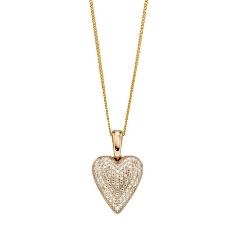 9ct Yellow Gold Diamond Pave Heart Pendant & Chain