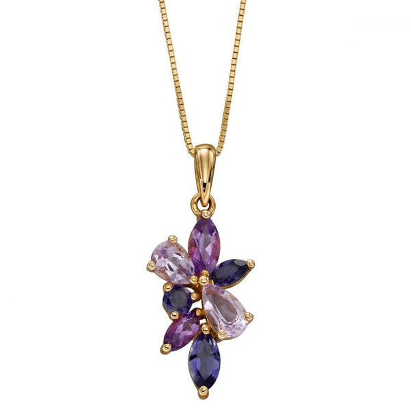 9ct Yellow Gold Amethyst, Iolite And Marquise Teardrop Cluster Pendant